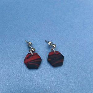 BLACK AND RED HEXAGON STUDS