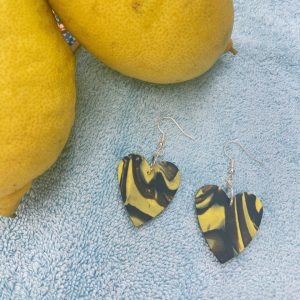 BLACK AND YELLOW HEARTS
